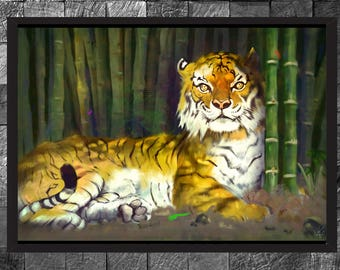 Tiger Art print Wildlife Nature Photo Illustration Home decor