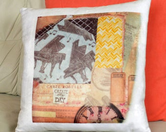 Lovely Mixed Media Design Pillow - Mixed Media Pillow Case - Musical Pillow Case and Pillow