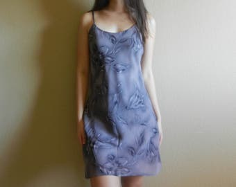 vintage lavender slip floral print dress size medium