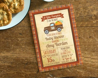 Vintage Truck Pumpkin Fall Baby Shower Invite,  Invitation with Pumkins,Plaid Autumn Vintage Truck Invite, Digital File or Printed