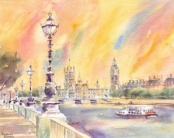 LONDON WATERCOLOUR ORIGINAL, London Watercolor Painting,  London Skyline, River Thames, Big Ben, Sunset Painting, Watercolor Painting, River