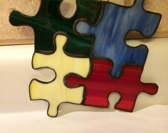 Puzzle pieces suncatcher