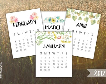 2017 Watercolor Calendar 3x4 Journal Cards // Pocket Scrapbooking // Printable Calendars For Crafting // Instant Download Planner Printables