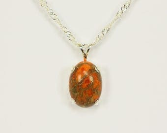Copper Turquoise in Sterling Silver Pendant