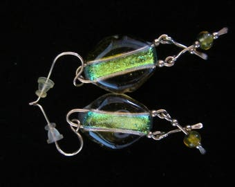 Art Dec'o Designer Drop Earrings - diamond shape yellow glass, slender green stripe running down center. Two extensions with 1 green bead!