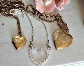 Gold Heart Locket Pendants and Rhinestone Heart Necklace, set of three