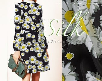 Yellow Daisy Fabric Black Silk