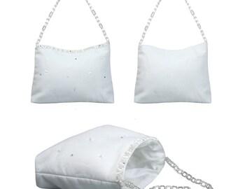 White Pearls Pattern Purse Handbag for 1st Communion Christening Wedding Bridal Flower Girl PW12