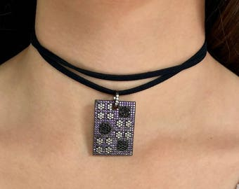 Dog Tag Choker for Women - Cubic Zirconia Necklace - Boho Dog Tag necklace - Mother's Day Gift - Dog Tag Pendant Necklace - black choker