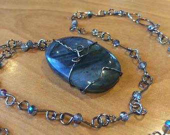 Labradorite pendant with gunmetal wire chain necklace