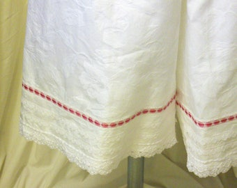 White Cotton 'Rose' Bloomers / Pantaloons with White Lace & Peony Pink Satin Ribbon Trim, Size XL