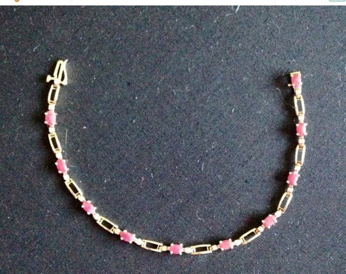 Storewide 25% Off SALE Vintage 10k Gold Tennis Bracelet With Beautiful Red Rubies and White Diamonds Featuring Elegant Segmented Design