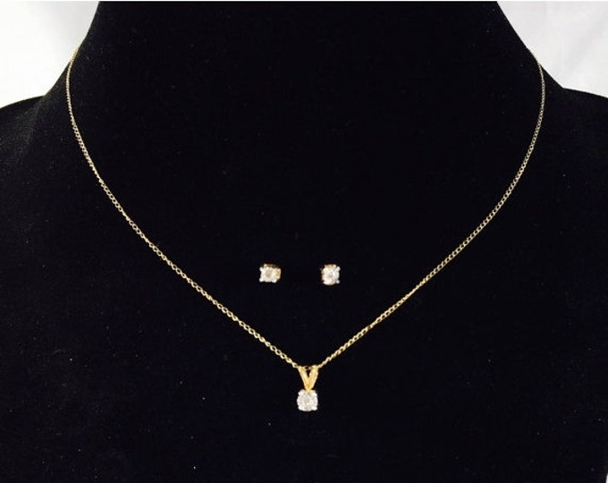 Storewide 25% Off SALE Vintage 10k Gold Diamond Necklace & Earring Matching Set Featuring White And Yellow Gold Finish.