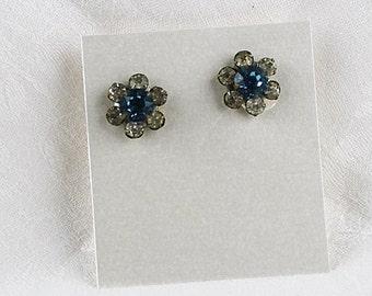 Vintage Rhinestone Blue and Clear Screw Back Earrings, JW241