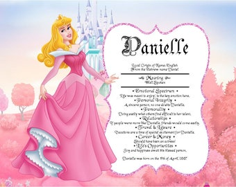 Disney Princess  Aurora Sleeping Beauty Personalized First Name Meaning Print
