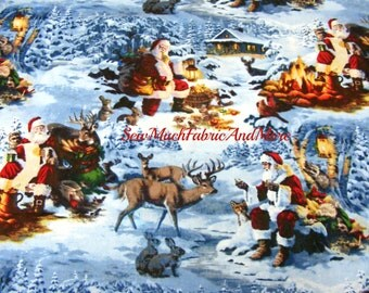 Scenic Christmas Santa and Reindeer in the Forest Fabric~ Animals~Cute~1 yard~David Textiles