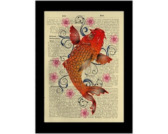 Asian Koi Fish Print Carp Japan Lily Eastern Cherry Blossom - Dictionary Book Page Art
