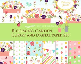 30% off Blooming Garden / Flower / Blooming Flower / Flower Garden Clip Art + Digital Paper Set - Instant Download