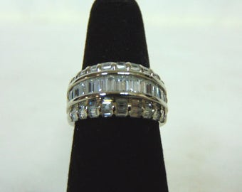 Vintage Estate Sterling Silver Ring w/ Crystals 8.0g #E2959