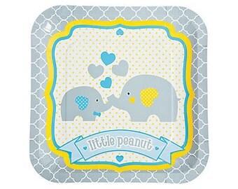 Baby Elephant Large Plates / Baby Shower Plates / Baby Elephant