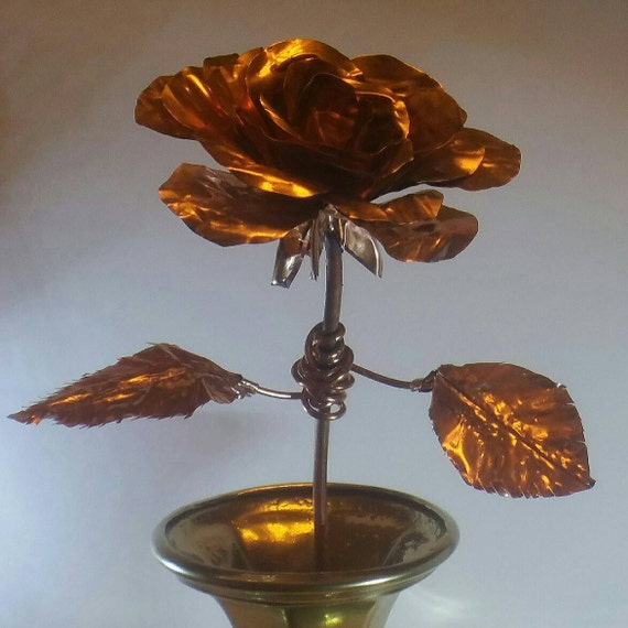 "12"" Long Stem Copper Rose Handmade"