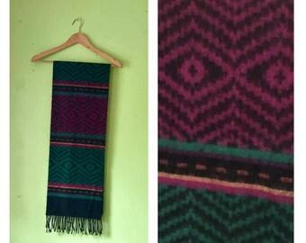 SALE Vintage 1980s Wool Scarf Colorful Scarf Tribal Knit Scarf Boho Hippie scarf
