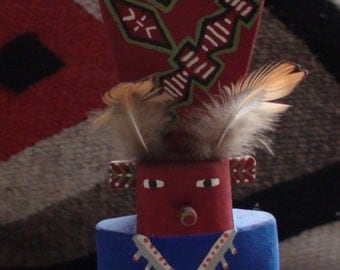 Native American Hopi Route 66 Kachina Carved Cottonwood Mid Century