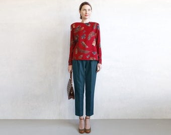 Red silk and wool blouse / leafs print 80s 90s blouse / red burgundy silk blouse /long sleeve oxblood silk wool blouse with fall motif print