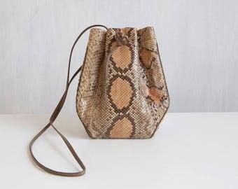 small snake skin bag / small shoulder bag / tan taupe peach shoulder bag / Small purse