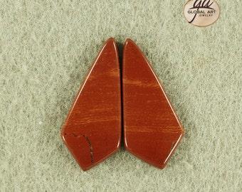 EA21551# 1 Pair Red Jasper earrings Cabs ,  Natural Designed Stone Earring Pairs Gemstone Red River Jasper  earrings Cabochons