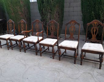 6 Spanish Revival Jacobean Dining Chairs FREE SHIPPING!!!