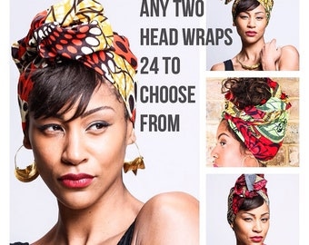 Any Two Turban Wax head wraps | African Wax print Head wrap | Printed headband | Turban Wax Headband | African Print Fabric | Hair Accessory