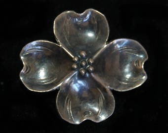 Small 50's Stuart Nye sterling dogwood blossom scatter pin, lovely little hand wrought 925 silver iconic Nye woodland flower brooch