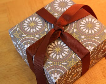 Set of 6 Handmade Origami Gift Boxes, with gift cards, ribbon, tissue paper, and envelopes.
