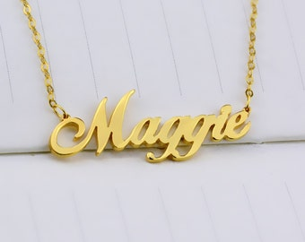 Custom Name Necklace,Personalized Nameplate Necklace,Gold Name Necklace,Any Name Necklace,Name Pendant,Letters Necklace,Bridesmaid Gift N157