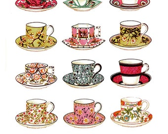 Vintage Teacups - Full Color - Clip Art - Digital Collage Sheet - Printable