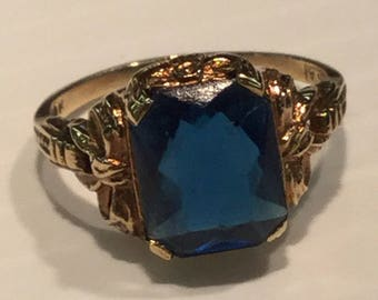 Vintage Mid Century 10k Yellow Gold Blue Stone Ring With Bow Design Size 7