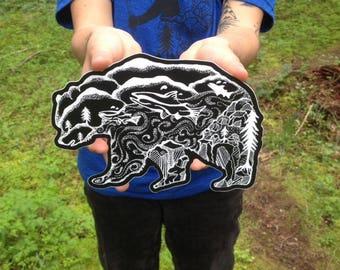 "Kodiak Bear & Salmon Sticker  8"" Vinyl Weatherproof and durable, Outdoor sticker, Wildlife sticker, Wanderlust, Alaska sticker Mountains"