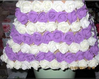 Mixed Media Foam Ivory and Purple Flowers Embellished Lamp Shade
