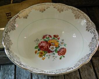 Vintage Windsor Washington Pottery Pink Yellow Blue Roses/Florals/Garlands 22KT Gold Filigree/Gilt Scalloped Edge Large Serving Bowl