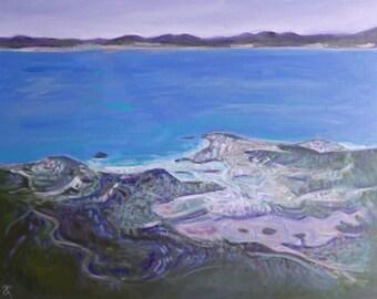 NZ beach painting, Kaiteriteri Tasman Bay, semi-abstract original art on canvas, 16 x 20, New Zealand landscape, seascape, free shipping
