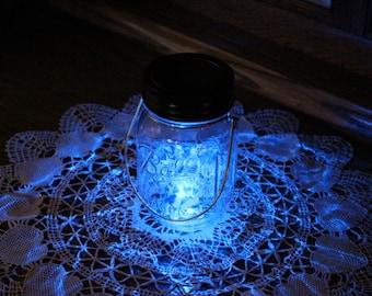 Hanging Mason Jar Solar Lid Light - Blue Angel Lights - Firefly Lights - with 1 Clear Mason Jar and Hanger - fairy light, solar mason jar