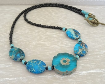 Jasper Necklace, Impression Jasper Necklace, Floral Necklace, Flower Necklace, Blue Necklace, Czech Glass Necklace, Black Necklace. Gift.