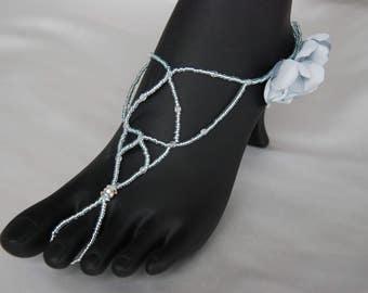 Sea blue beaded barefoot sandals;blue barefoot sandals;barefoot wedding sandals