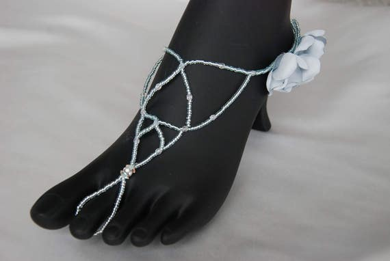 Sea blue beaded barefoot sandals;blue barefoot sandals;barefoot wedding sandals