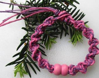 Pink and Purple, Pink Beaded Hemp, Hemp Jewelry, Hemp Bracelet, Hemp Anklet, Unique Hemp Jewelry