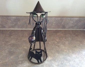 A Metal and Bead Design Halloween Witch with a Black Cat Figure.