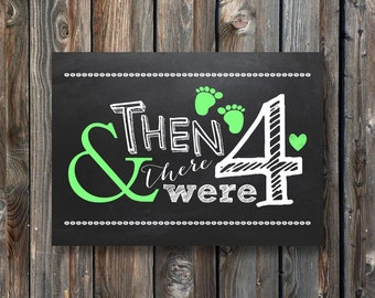 PRINTABLE Pregnancy Announcement Chalkboard Sign–Pregnancy Reveal Sign-Baby Announcement Sign-And Then There Were Four-Instant Download