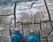 Teal and Black Design Earrings