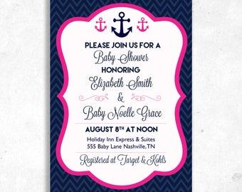 Nautical Themed Baby Shower Invitation